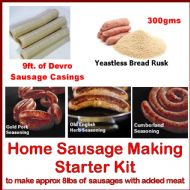 British Home Sausage Making Starter Kit Yeastless Rusk, 21mm Sausage Skins, 3 Seasonings & Guide
